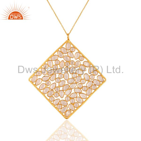 18K Gold Plated Sterling Silver Cubic Zirconia Slice Designer Pendant With Chain