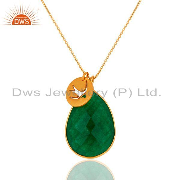 Handmade 22K Yellow Gold Plated Green Aventurine Sterling Silver Drop Pendant
