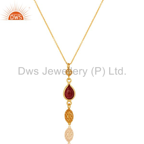 Ruby Red Corundum Gemstone 18K Gold Plated Sterling Silver Pendant With Chain