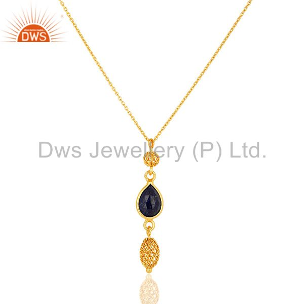 18k yellow gold plated sterling silver blue sapphire gemstone pendant with chain