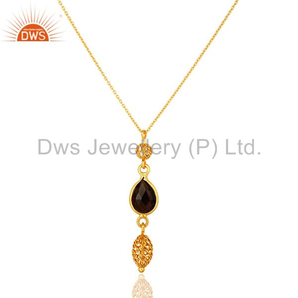 18k yellow gold plated sterling silver smoky quartz designer pendant with chain