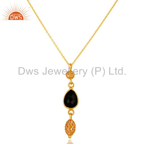 18K Yellow Gold Plated Sterling Silver Black Onyx Designer Pendant With Chain