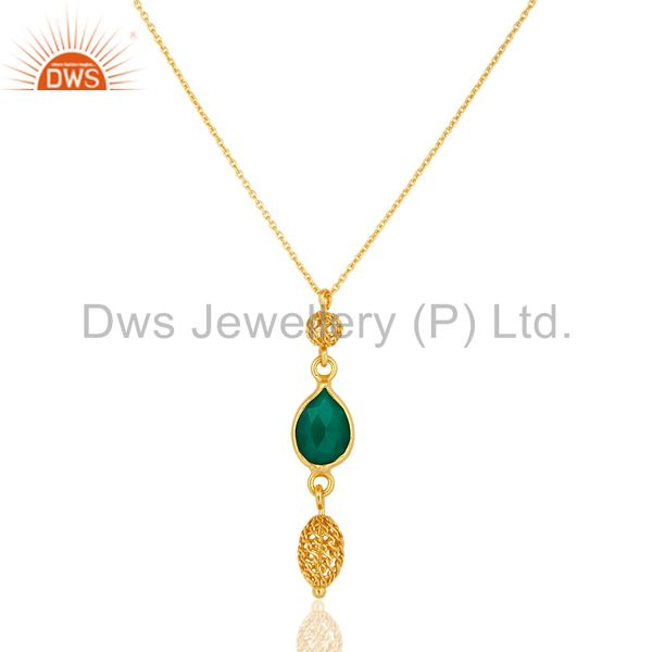 18K Yellow Gold Plated Sterling Silver Green Onyx Gemstone Pendant With Chain