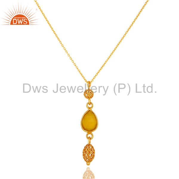 14K Yellow Gold Plated Sterling Silver Yellow Chalcedony Pendant With Chain