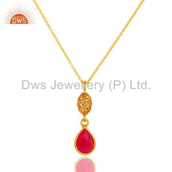 18k gold plated sterling silver pink chalcedony designer pendant with chain