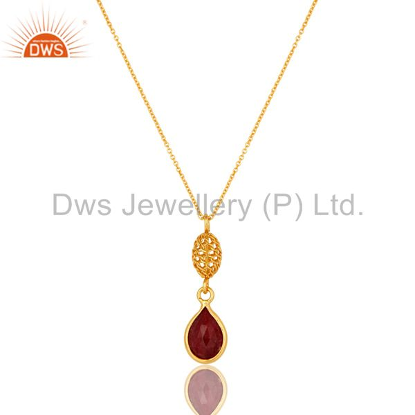 18K Gold Plated Sterling Silver Ruby Red Corundum Designer Pendant With Chain