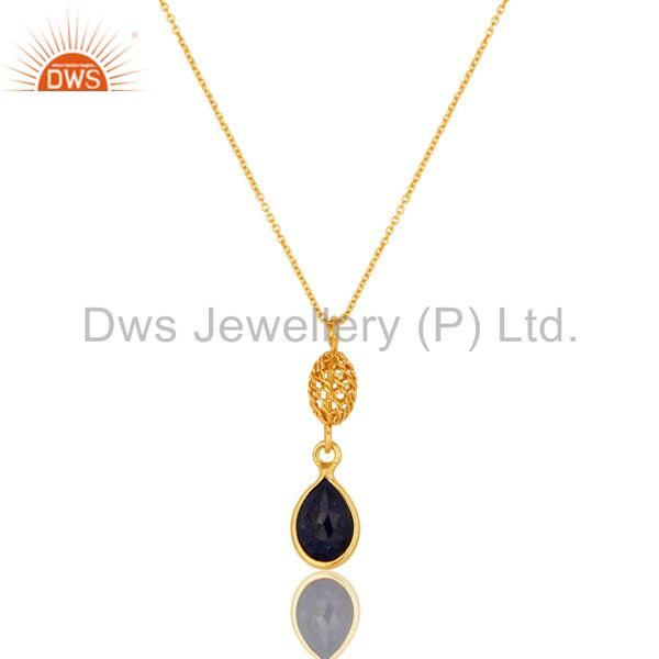 Gold Plated Sterling Silver Sapphire Blue Corundum Designer Pendant With Chain