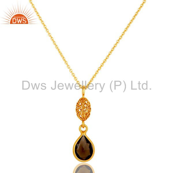14K Yellow Gold Plated Sterling Silver Smoky Quartz Designer Pendant With Chain