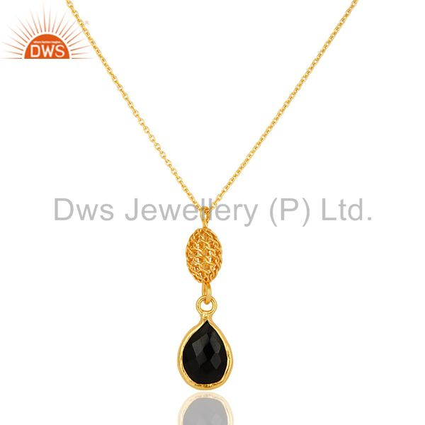 18K Yellow Gold Plated Sterling Silver Black Onyx Gemstone Drop Pendant Necklace
