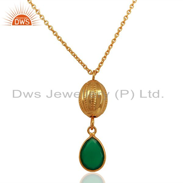 """18K Yellow Gold Plated Sterling Silver Green Onyx Drop Pendant With 16"""" Chain"""
