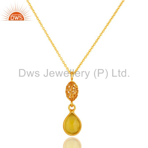 18K Gold Plated Sterling Silver Yellow Moonstone Designer Pendant With Chain