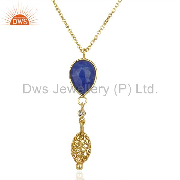 Natural lapis 14k gold plated filigree 92.5 sterling silver pendent