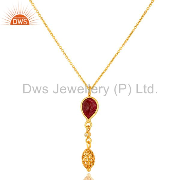 14K Yellow Gold Plated Sterling Silver Ruby And White Topaz Pendant With Chain