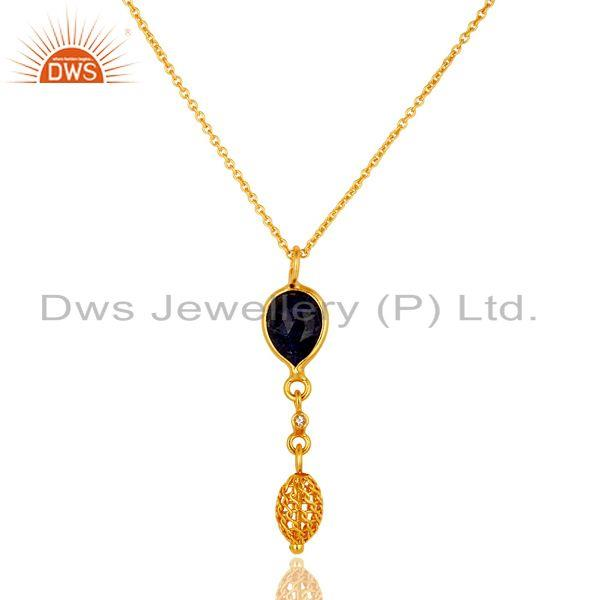 14K Gold Plated Sterling Silver Blue Sapphire And White Topaz Pendant With Chain
