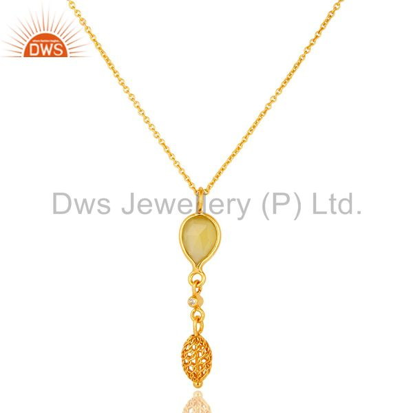 18K Gold Plated Silver Yellow Chalcedony And White Topaz Pendant With Chain