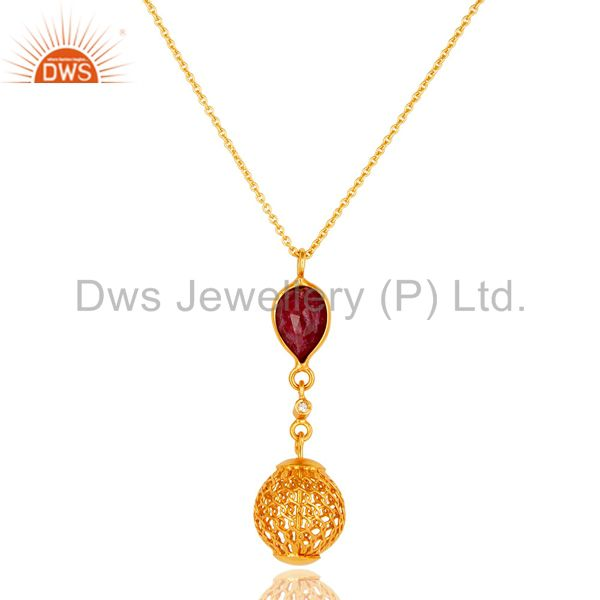 Handmade ruby corundum sterling silver designer pendant with gold plated