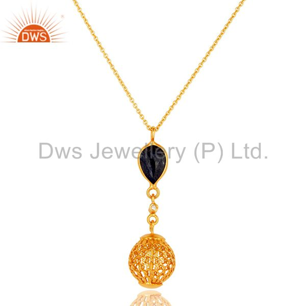 18K Gold Plated Sterling Silver Blue Sapphire And White Topaz Pendant With Chain