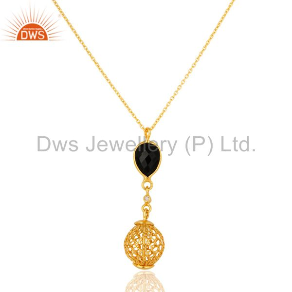 18k yellow gold plated sterling silver black onyx & white topaz pendant necklace