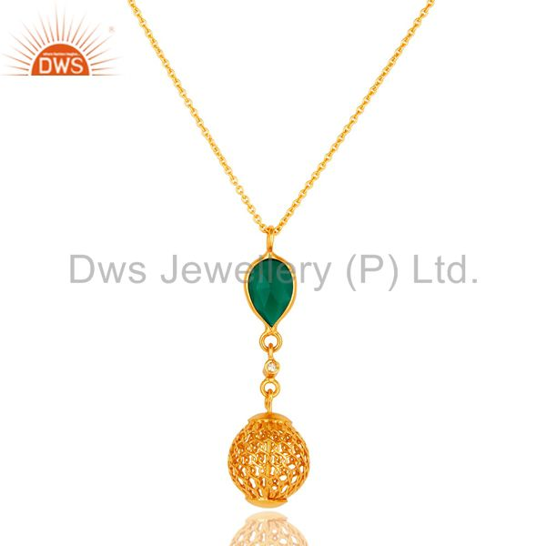 14K Gold Plated Sterling Silver Green Onyx And White Topaz Pendant With Chain