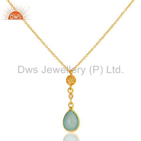 Chalcedony & white zircon chain pendant with 22k gold plated 925 sterling silver