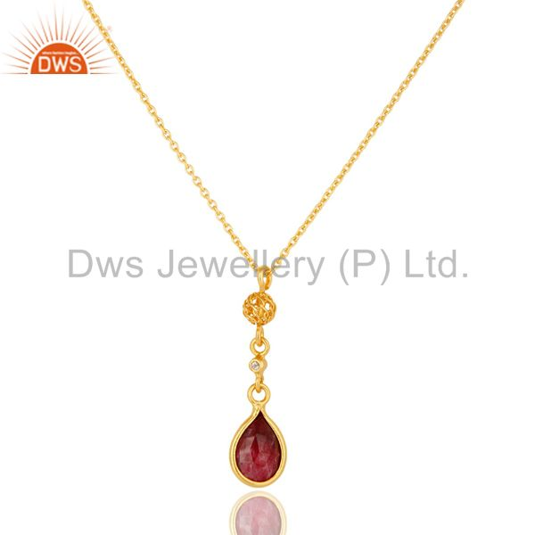 18K Yellow Gold Plated Sterling Silver Ruby And White Topaz Pendant Necklace