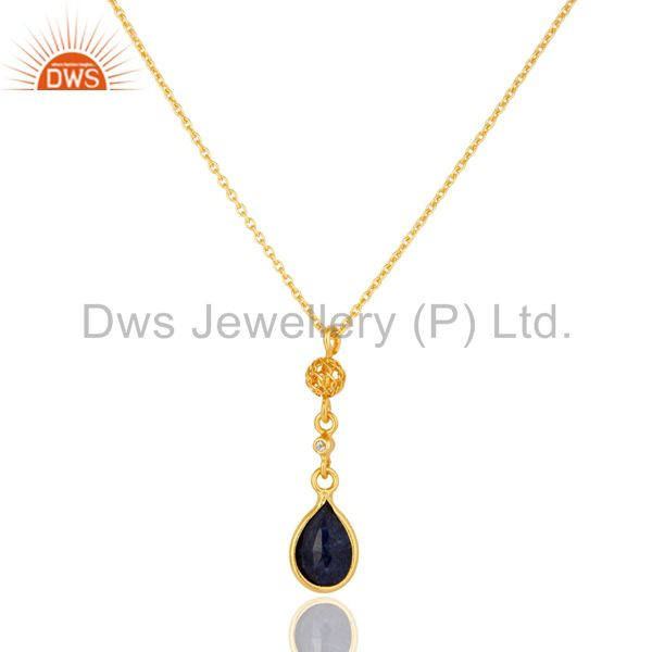 Dyed Blue Sapphire & White Topaz 18K Gold Plated Sterling Silver Pendant Necklac