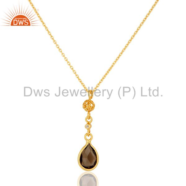 White Topaz And Smoky Quartz Pendant Necklace In 18K Gold On Sterling Silver