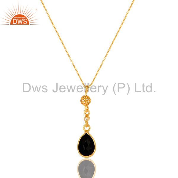 Black Onyx And White Topaz Pendant In 18K Yellow Gold Over Sterling Silver