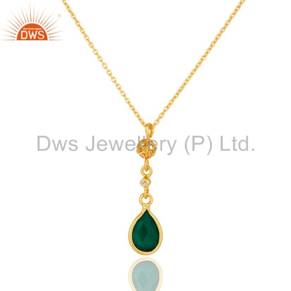 Green Onyx And White Topaz Pendant Necklace In 18K Gold On Sterling Silver