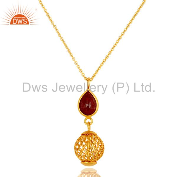 14K Gold Plated Sterling Silver Ruby Designer Pendant With Chain