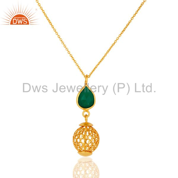 18K Gold Plated Green Onyx Handmade Sterling Silver Pendant With Chain