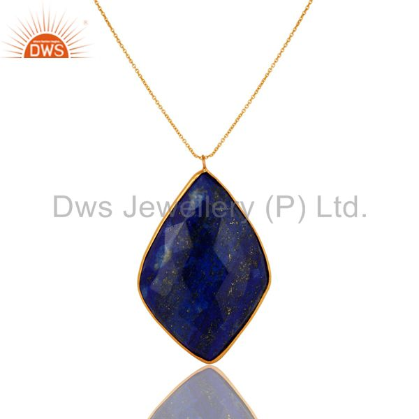 18K Gold Over Sterling Silver Faceted Lapis Lazuli Bezel Set Pendant With Chain