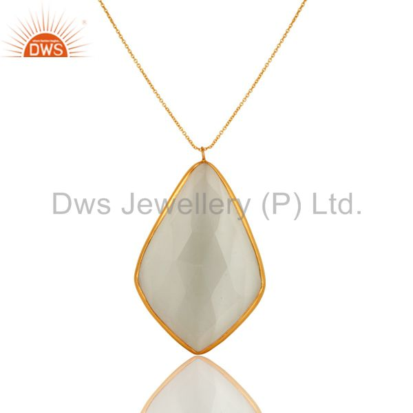18K Gold Over Sterling Silver White Moonstone Bezel Set Pendant With Chain