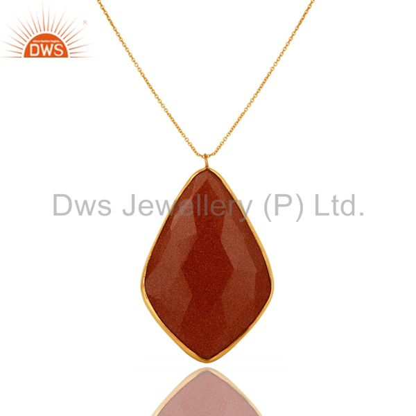 18k gold plated sterling silver faceted sand stone bezel set pendant with chain