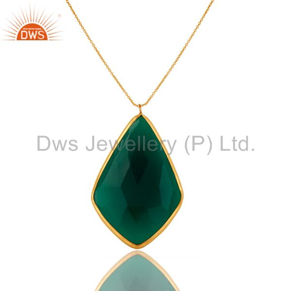 18K Gold Plated Sterling Silver Faceted Green Onyx Bezel Set Pendant With Chain