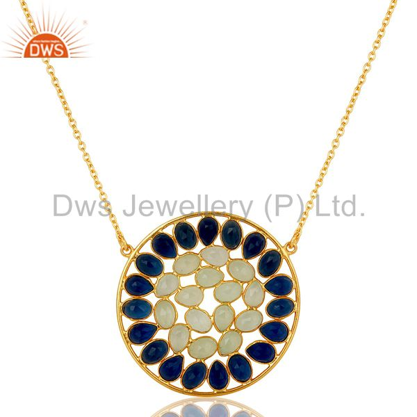 18k gold plated sterling silver chalcedony & corundum pendant chain necklace
