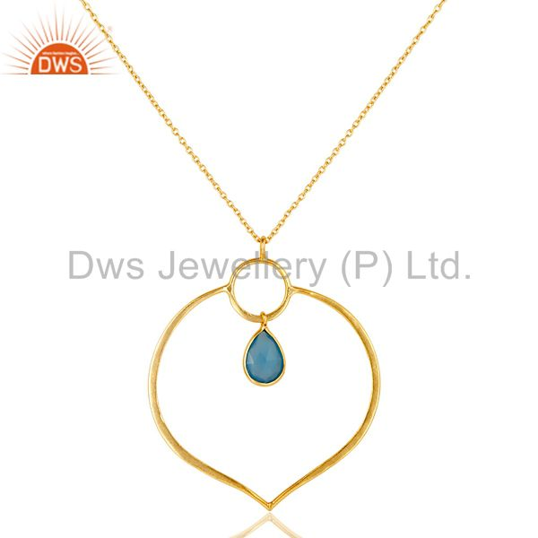18K Gold PLated Sterling Silver Simple Set Pendant Necklace with Chalcedony