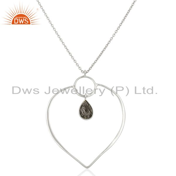 Handmade Black Rutile Gemstone Fine Silver Chain Pendant Necklace