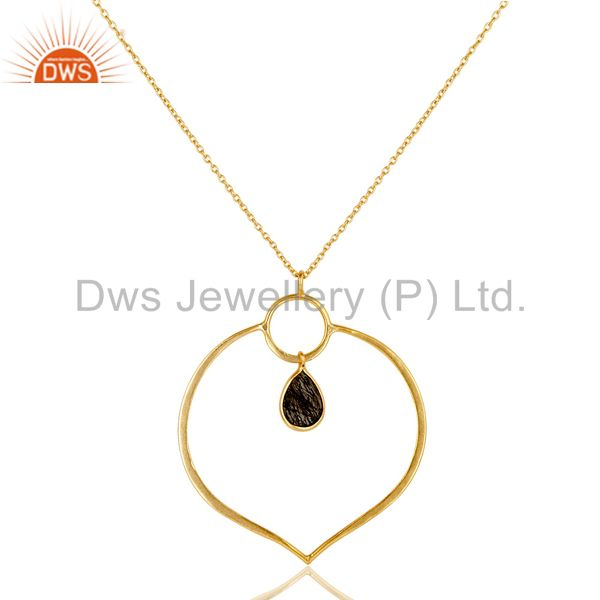 18K Gold PLated Sterling Silver Simple Set Pendant Necklace with Black Routile