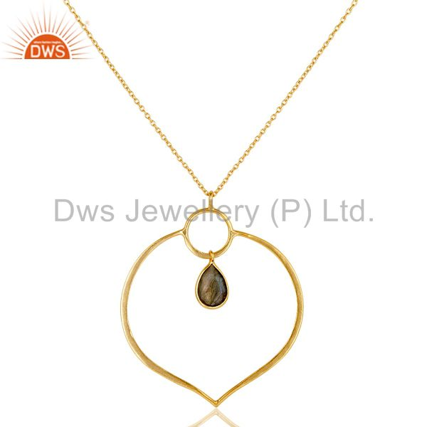 18K Gold PLated Sterling Silver Simple Set Pendant Necklace with Labradorite