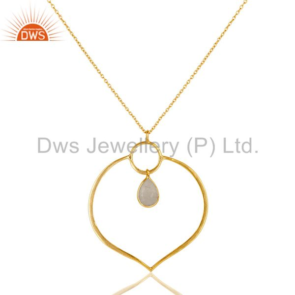 18K Gold PLated Sterling Silver Simple Set Pendant Necklace with Moonstone