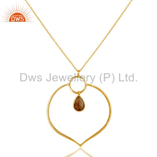 18K Gold PLated Sterling Silver Simple Set Pendant Necklace with Rutile