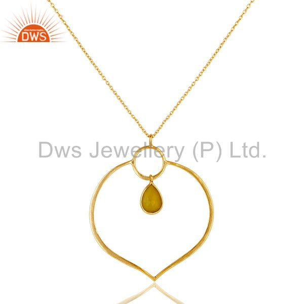 18K Gold PLated Sterling Silver Simple Pendant Chain Necklace with Chalcedony