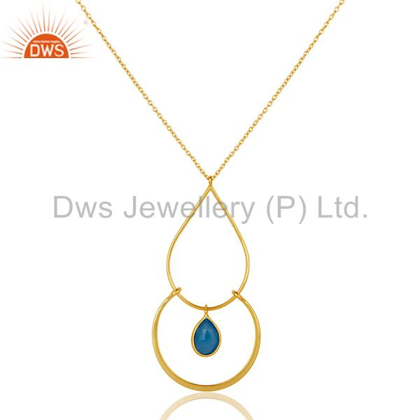 Chalcedony With 18K Gold PLated Sterling Silver Simple Pendant Chain Necklace