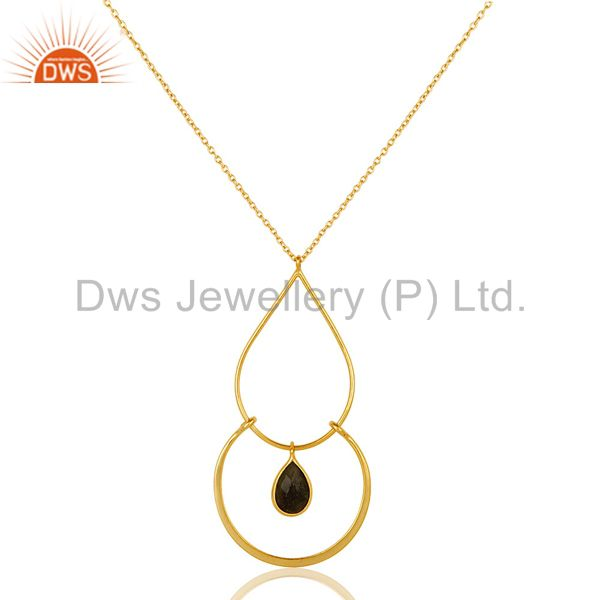 Traditional 18K Gold PLated 925 Sterling Silver Pendant Chain Necklace With Lab