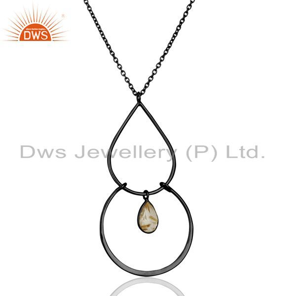 Golden Rutile Gemstone Black Rhodium Plated Silver Chain Pendant