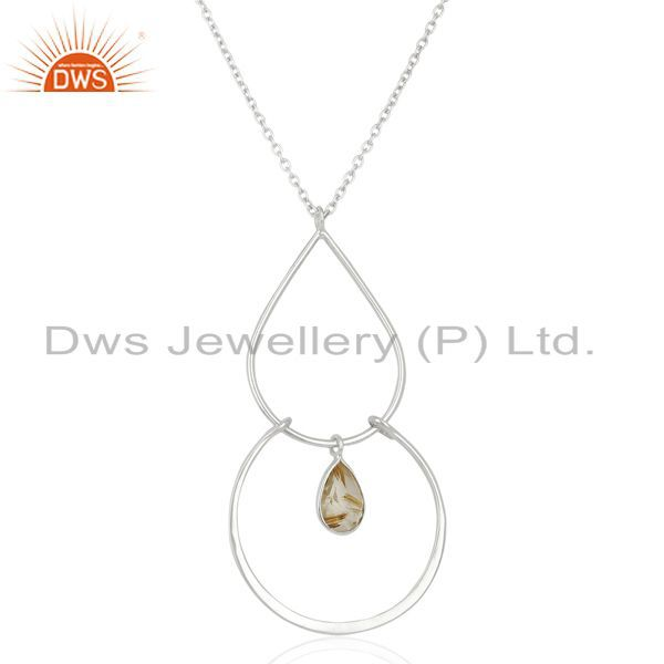 New 925 Sterling Silver Golden Rutile Gemstone Handmade Chain Pendant