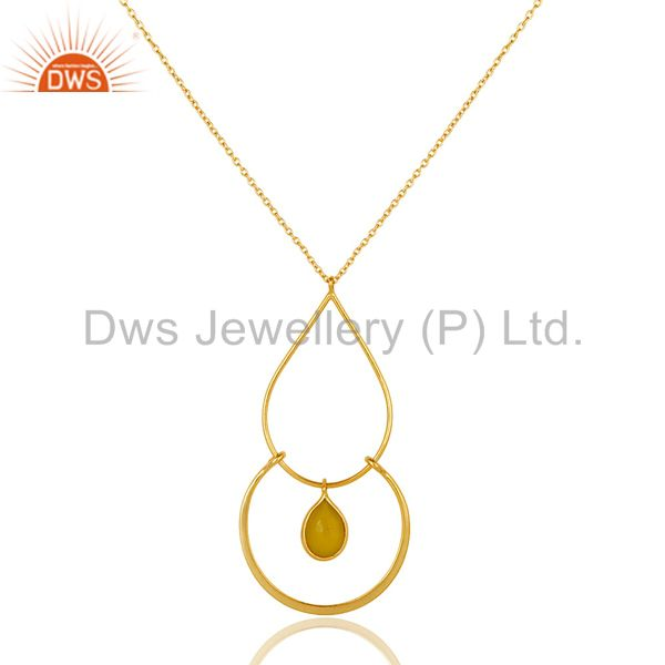 Traditional Design 18K Gold PLated 925 Sterling Silver Pendant Chain Necklace