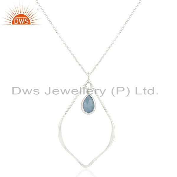 Traditional Design Solid Sterling Silver Dyed Chalcedony Chain Pendant Necklace