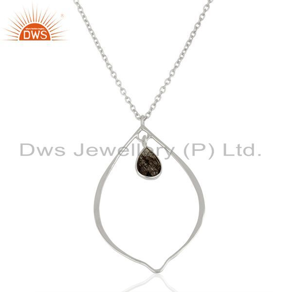 Handmade Sterling Fin Silver Black Rutile Gemstone Pendant Necklace